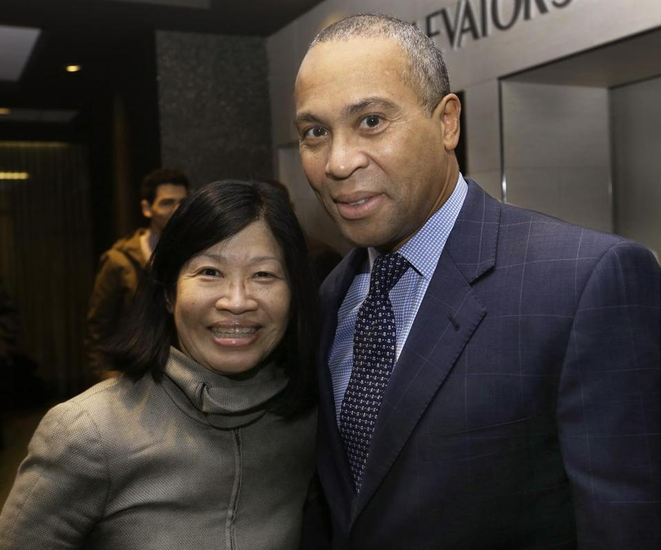 NETWORKED: Vivian Li, president of the Boston Harbor Association, with Governor Deval Patrick at a Get Konnected party at the Revere Hotel in Boston on March 26