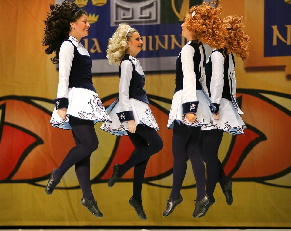 "The Brady Academy dancers from Quincy danced ""trip to the cottage"" in the 16- to 19-year-old age group at The World Irish Dancing Championships."