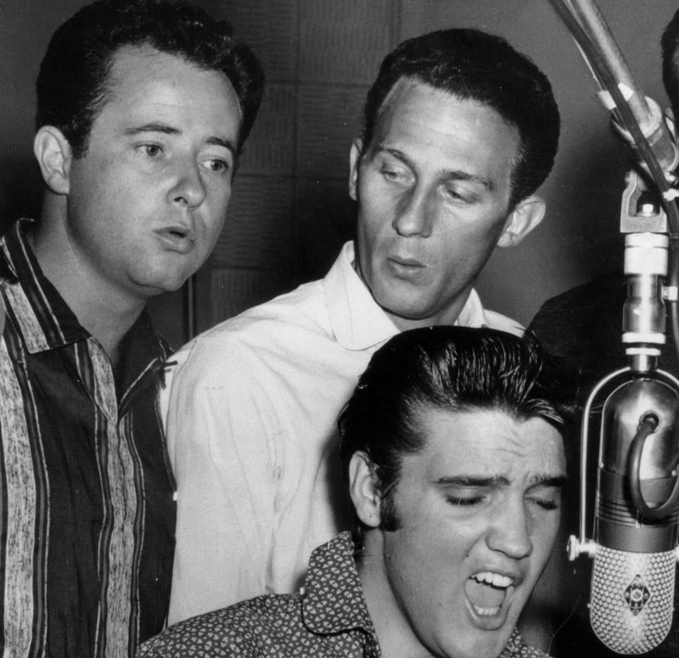 Gordon Stoker (left) and Hoyt Hawkins backed Elvis on his early recording in the 1950s.