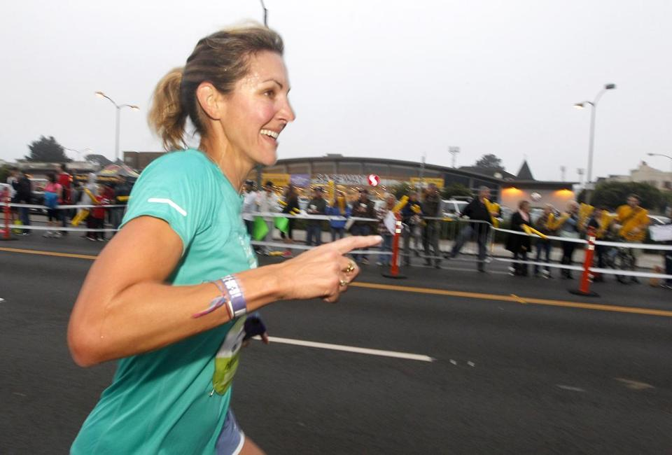 Former Olympic gold-medal swimmer Summer Sanders, a runner at heart, qualified for Monday's Boston Marathon.