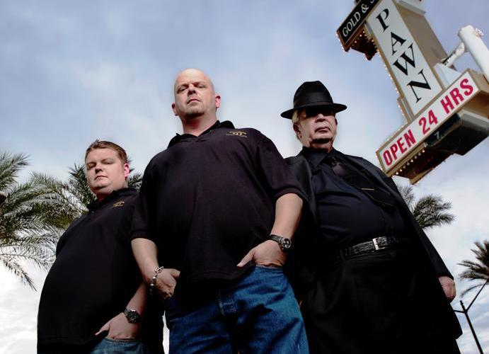 "From left: Corey, Rick, and Richard Harrison of History's ""Pawn Stars."""