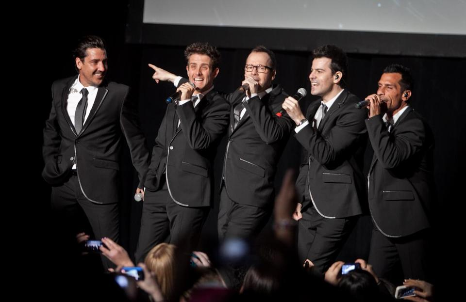 Above (from left): Jonathan Knight, Joey McIntyre, Donnie Wahlberg, Jordan Knight, and Danny Wood.