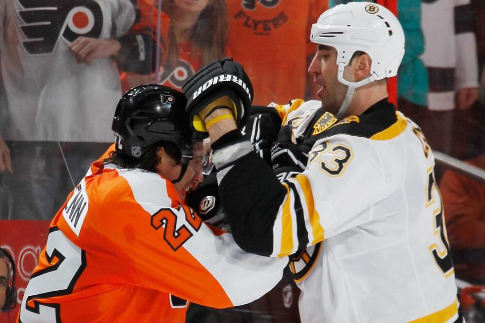Zdeno Chara (33) mixed it up with Luke Schenn, but the Bruins showed little fight vs. the Flyers.