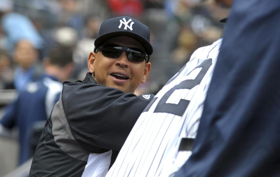 The Yankees' Alex Rodriguez stayed in dugout.