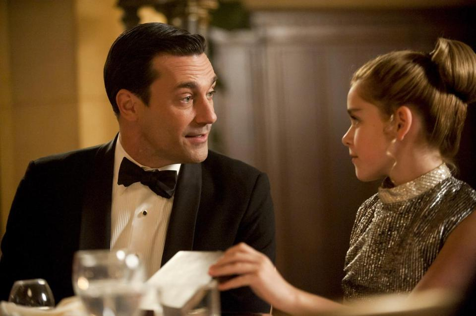 "Jon Hamm as Don Draper and Kiernan Shipka as daughter Sally Draper in ""Mad Men."""