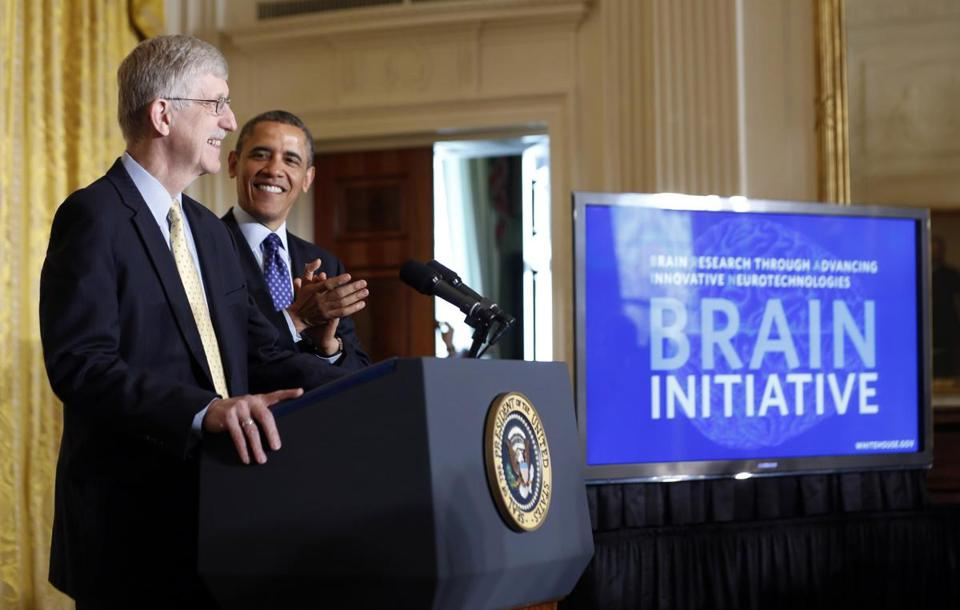 President Obama was introduced by physician-geneticist Francis Collins before his announcement of his administration's BRAIN initiative at the White House.