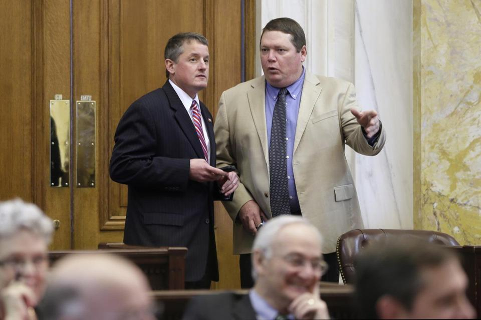 State Senator Bryan King, right, who sponsored the bill in the Senate, said after the override vote that he was relieved by the results.