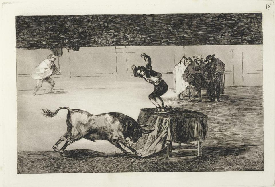 "Image of a bullfight is from a complete first edition (comprising 33 plates) of Francisco Goya's circa 1815 ""La Tauromaquia."" With a $400,000-$600,000 estimate, it is expected to be the top seller at Christie's auction Tuesday of the Arthur and Charlotte Vershbow Collection. This 5-inch-diameter Chinese bowl bought at a tag sale for $3 sold at Sotheby's auction of Chinese works of art for $2.2 million. A world auction record was set when this 17th/18th-century Chinese huanghuali plank-top pedestal table sold at Christie's for $9.1 million against a $1.5 million-$2 million estimate."