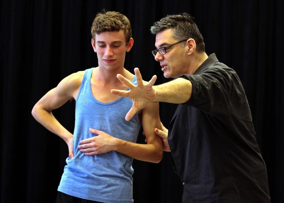 "Peter DiMuro (right) gives a pointer to Andy Garcia during rehearsals for ""Archives & Etchings."""