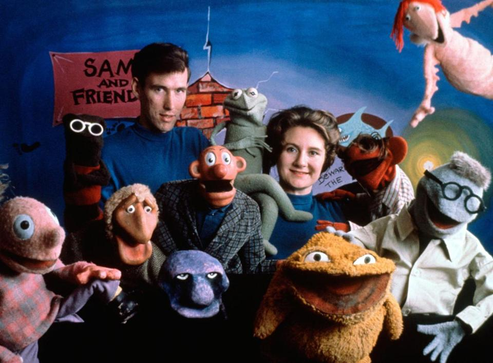 Jim and Jane Henson posed with the case of Sam and Friends in Washington in 1960.