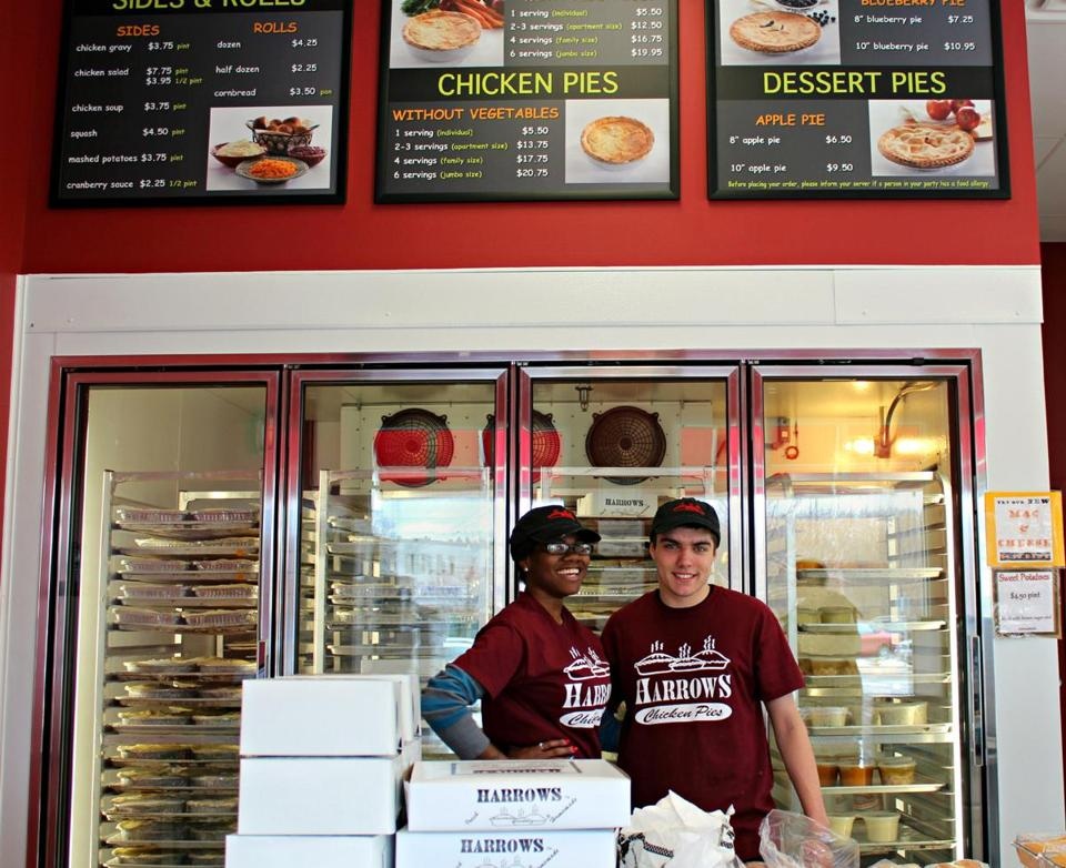 Rayshonda Williams and Ryan Uhrmann on duty at the Harrows Chicken Pies takeout chain's new location in Dedham.