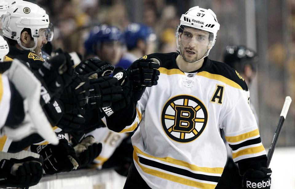 Bergeron suffered the concussion when Colin Greening's right elbow thudded off the left side of Bergeron's head, behind his ear.