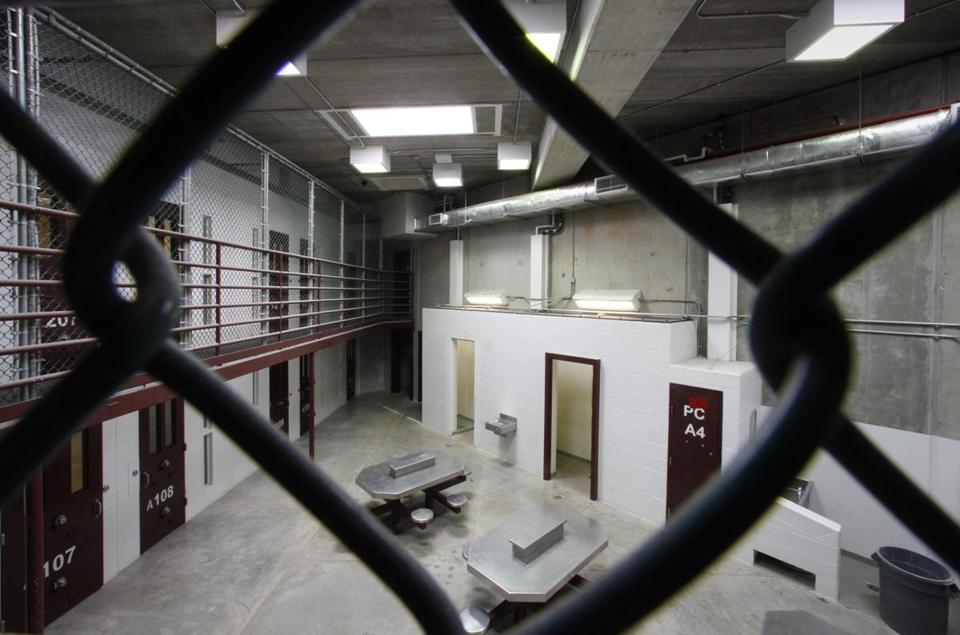 An unoccupied communal cellblock is seen last month at Camp VI, a prison used to house detainees at the US Naval Base at Guantanamo Bay.