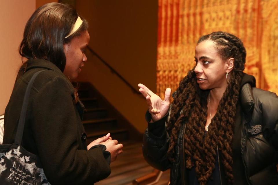 Suzan-Lori Parks (right) with Emerson student Ciera-Dawn Washington.