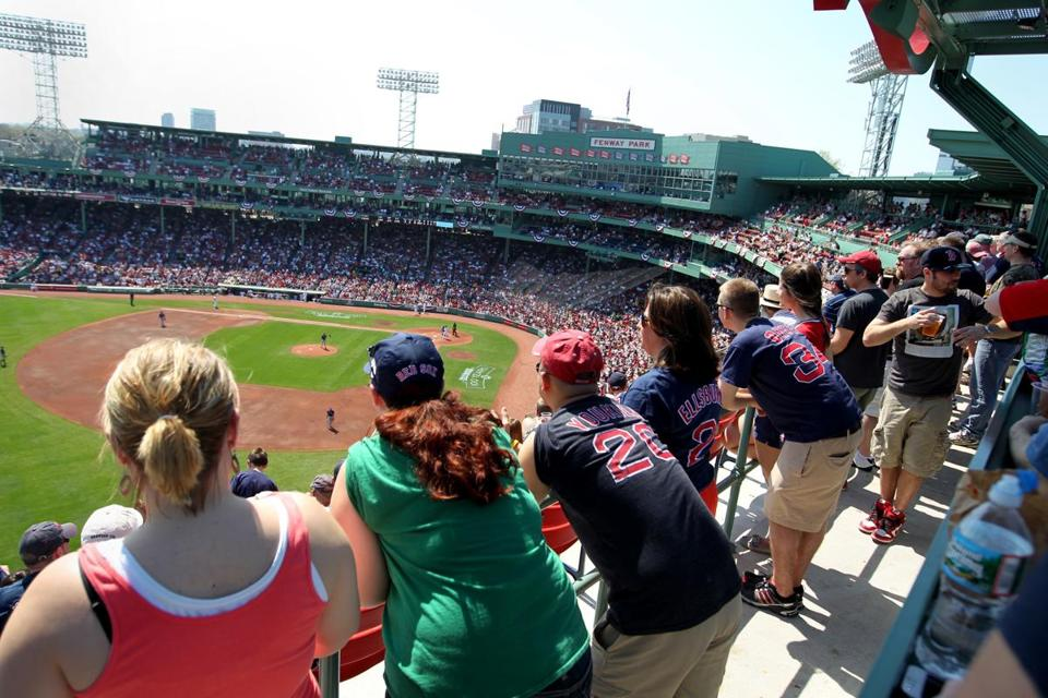 Fans got a view of a Red Sox game from left field at Fenway Park last season.