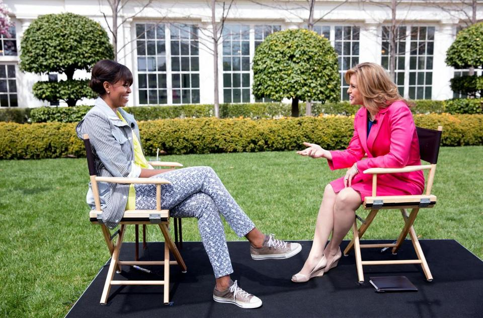 Michelle Obama interviewed by Paula Ebben at the White House.