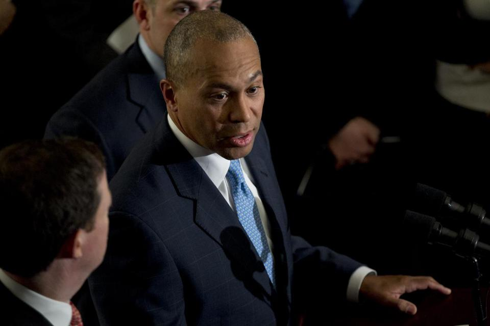 Governor Deval Patrick formally issued a veto threat over the Legislature's transportation finance plan.