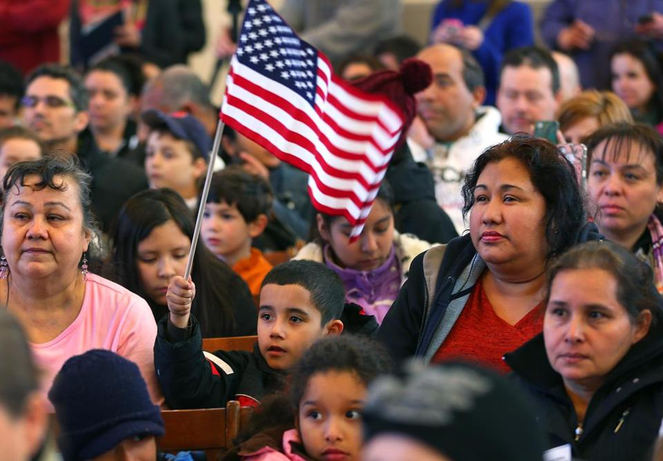 Immigration reform backers packed Faneuil Hall for a rally held as part of national Power up for Citizenship week.