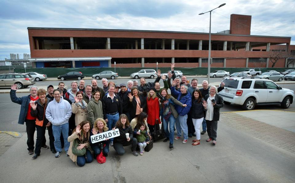 Current and former employees gathered Sunday outside the old Boston Herald building.
