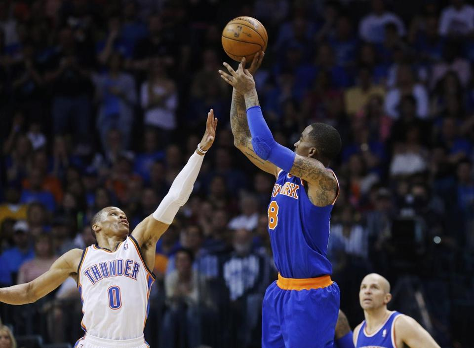 J.R. Smith (22 points) hit some clutch baskets for the Knicks, including this jumper over the Thunder's Russell Westbrook.