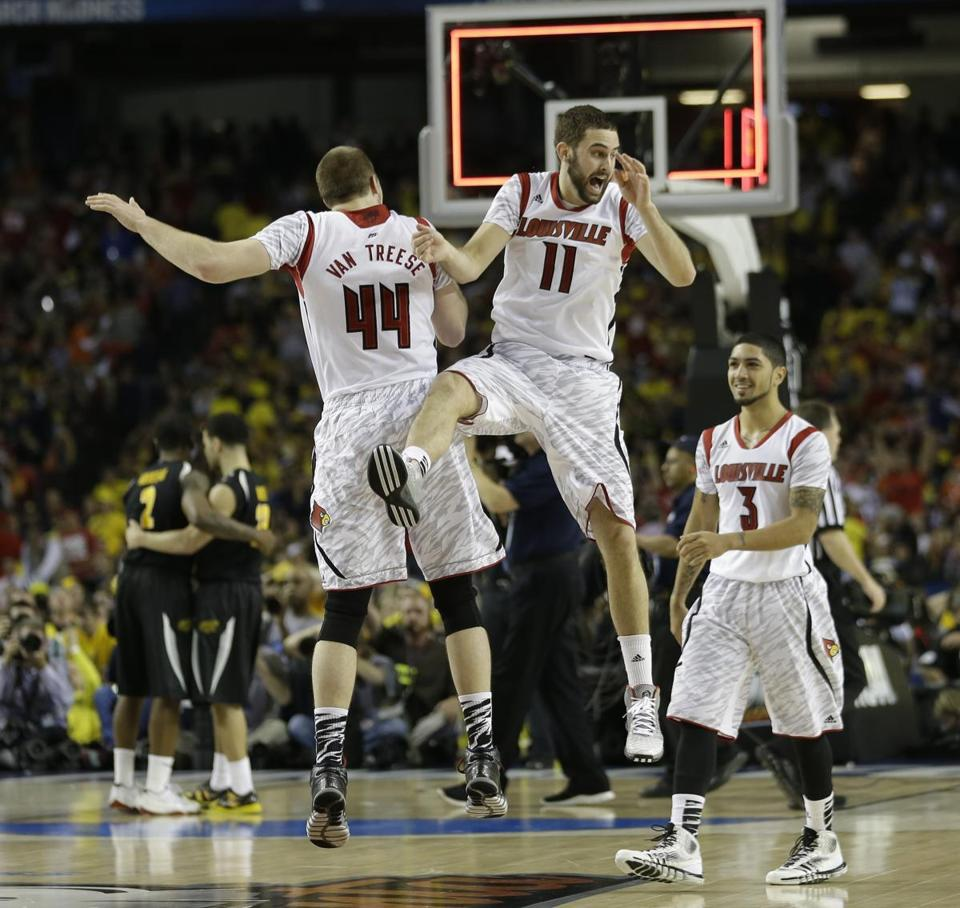 Louisville's Stephan Van Treese (left), Luke Hancock (center), and Peyton Siva reacted after beating Wichita State and advancing to the title game.