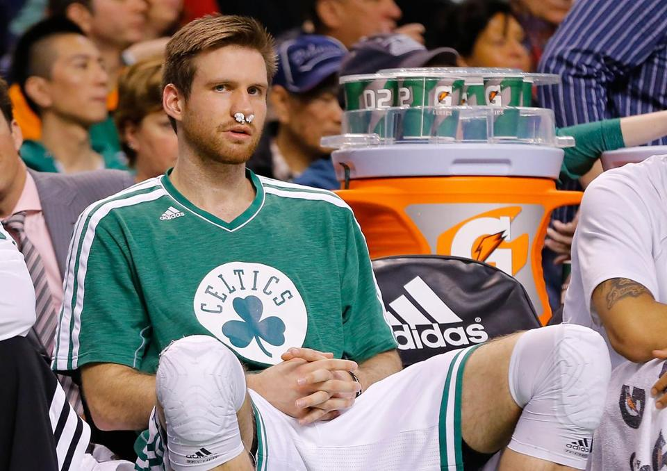Shavlik Randolph with a bloody nose is becoming a common sight during Celtics games.