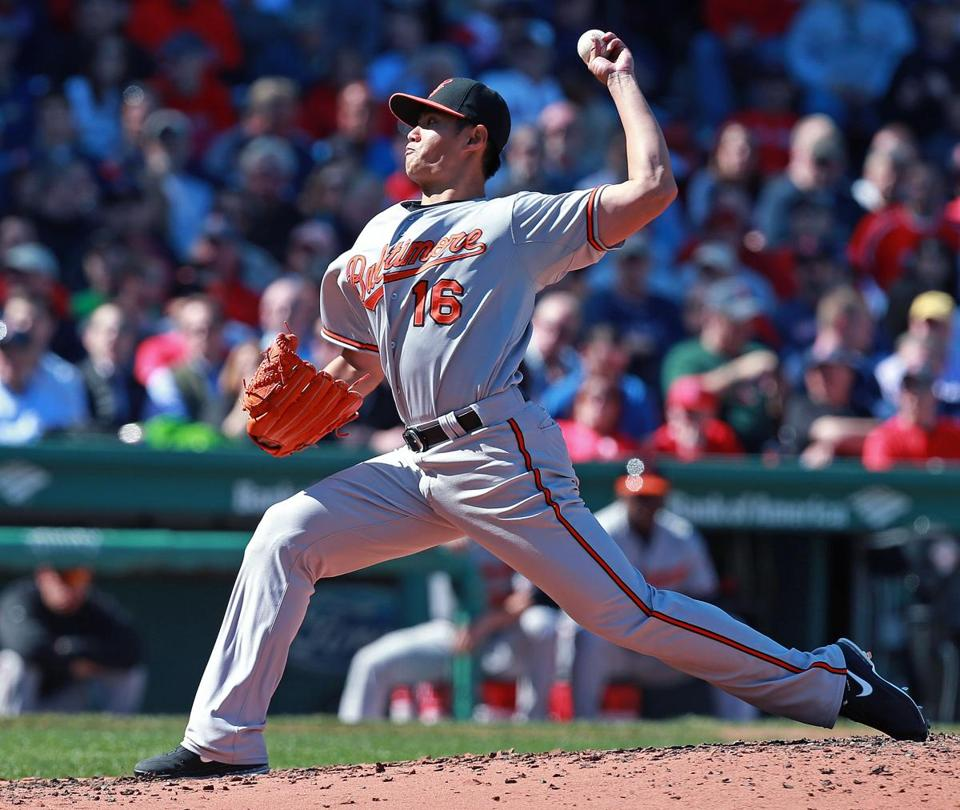 The Orioles' Wei-Yin Chen fires; he worked six scoreless innings before giving up a three-run homer in the seventh.