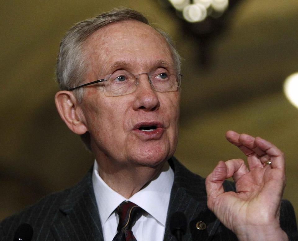 Senate Majority Leader Harry Reid spoke at a news conference on Capitol Hill on Tuesday.