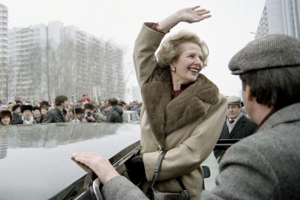 Prime Minister Margaret Thatcher greeted crowds in Moscow.
