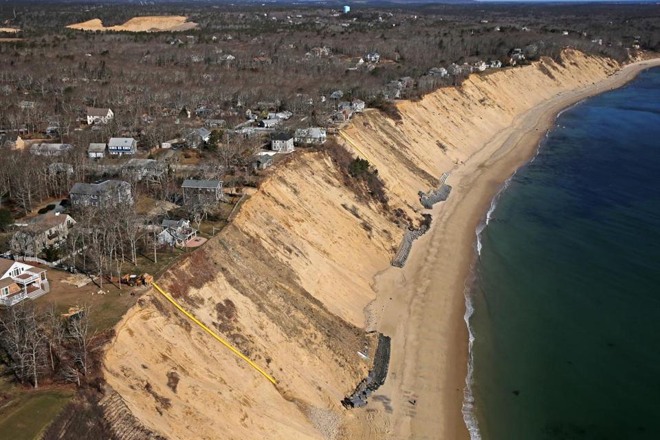 Oceanfront homes in Plymouth with panoramic views of the Atlantic have been bought and sold at bargain prices in recent years. Erosion has been whittling properties for years.