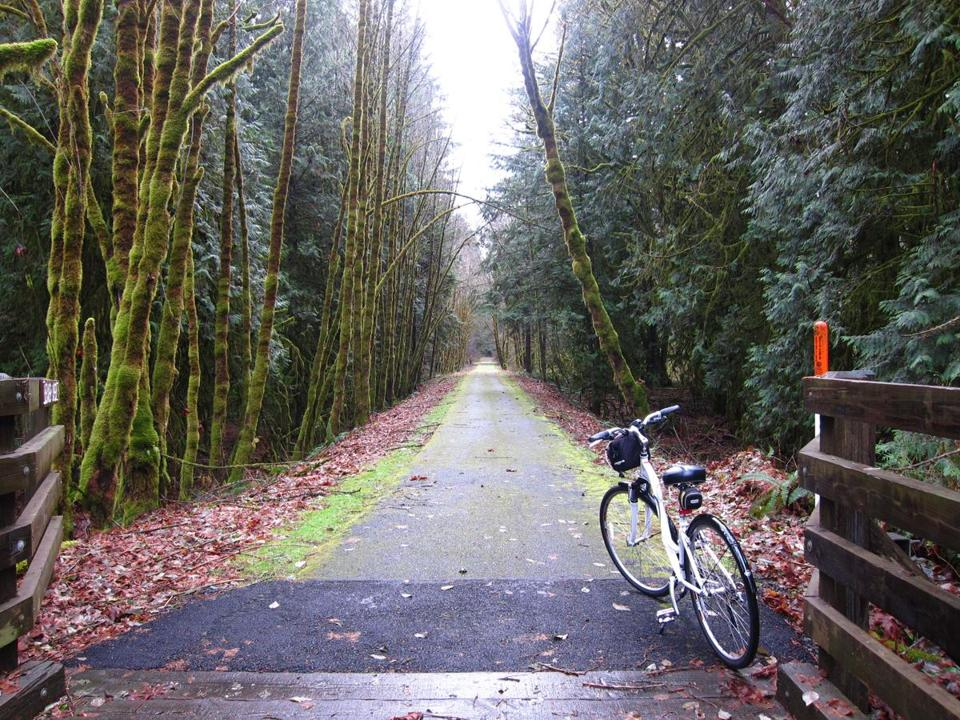 The 21-mile Banks-Vernonia Rail Trail, connecting rural towns west of Portland, is Oregon's first linear state park.