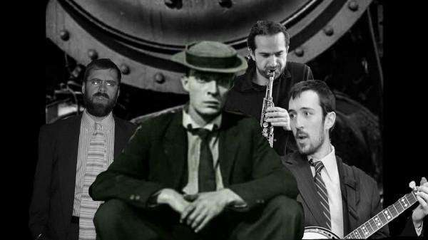 Brendan Cooney (left), Andy Bergman, and Kyle Tuttle (right) will perform live to four classic short films by Buster Keaton (center).
