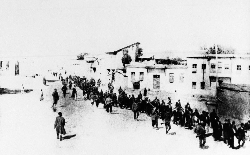 Armenians were marched long distances in Turkey and said to have been killed.
