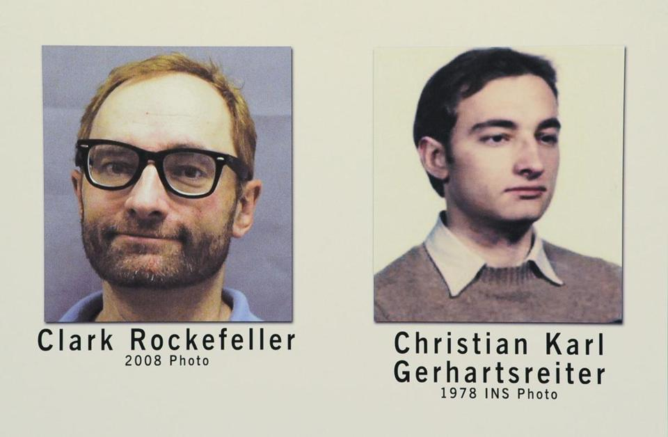 Photographs of Christian Karl Gerhartsreiter, also known as Clark Rockefeller, at a Federal Bureau of Investigation office in Boston.