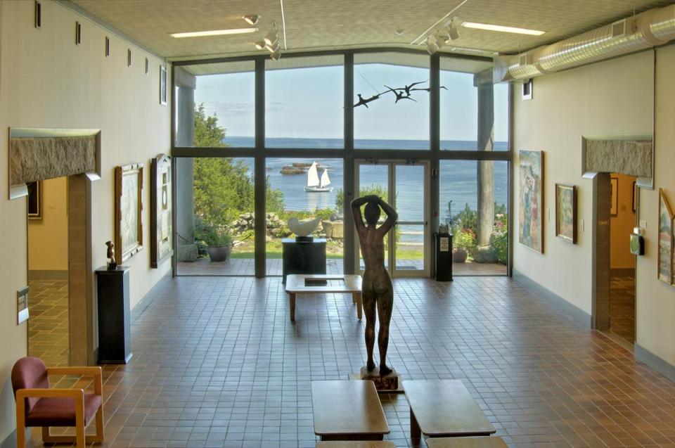 The view from the lobby sculpture gallery at the Ogunquit museum.