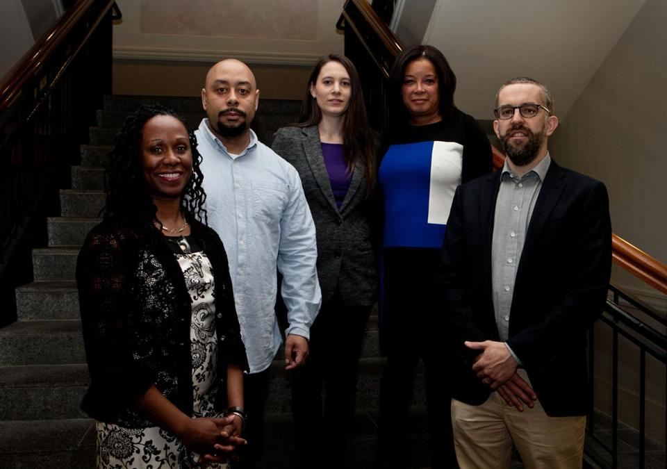 From left: Camille Nelson, Raymond Santana, Sarah Burns, Kim McLaurin, and David McMahon at Suffolk University.