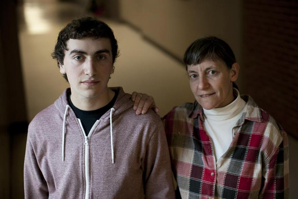 Senior Jonah Einson and his mother, Brenda Rich, are waiting for word from colleges.