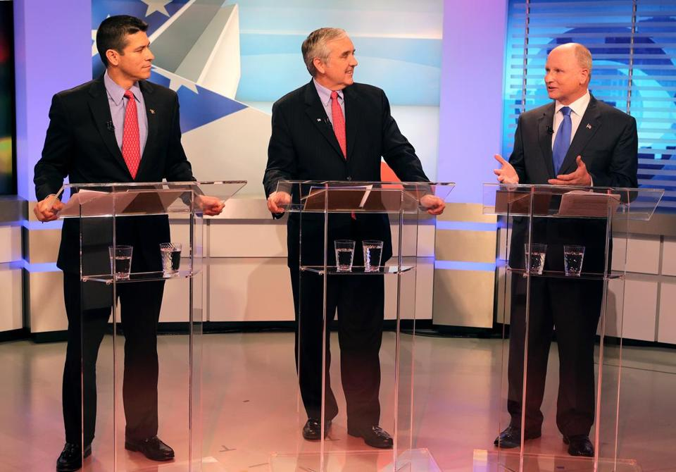 The Republican candidates for US Senate (from left), Gabriel Gomez, Michael J. Sullivan, and Daniel B. Winslow participated in a one-hour television debate moderated by WBZ.