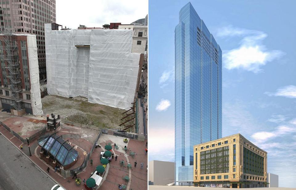 Developers plan to build a tower at the Filene's site in Downtown Crossing.