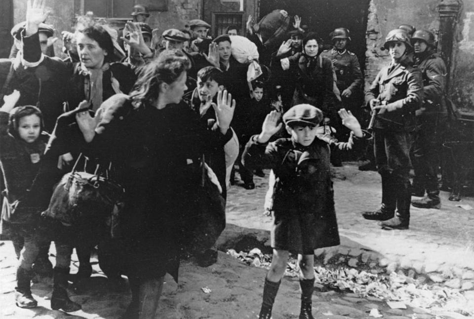 A scene from the Warsaw Ghetton on April 19, 1943.