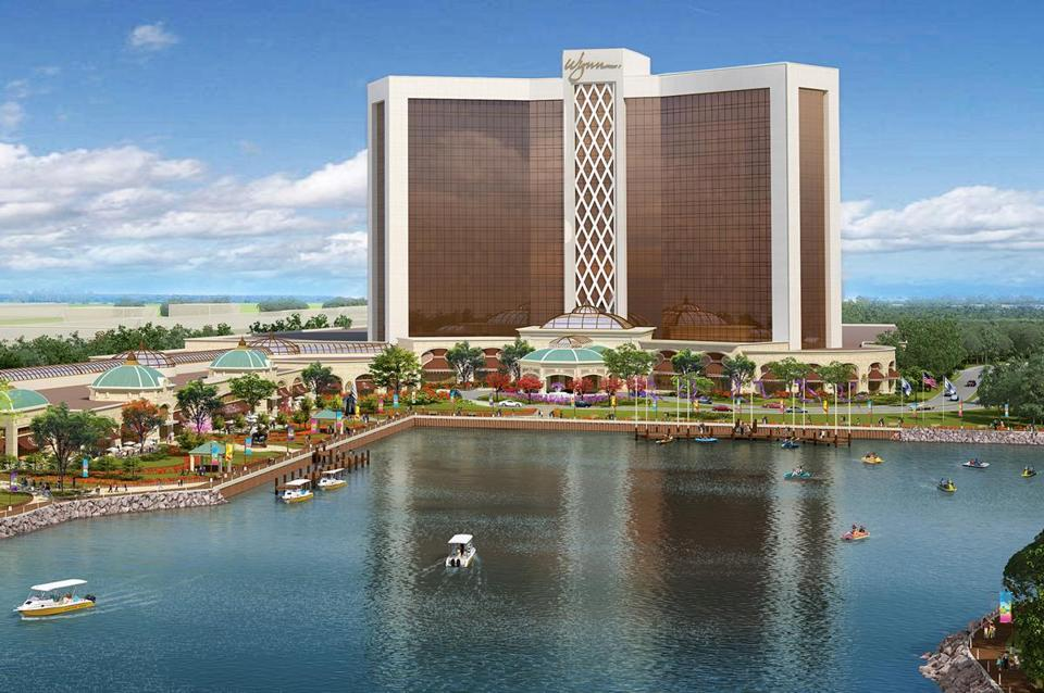 A rendering of the Mystic River gambling resort to be called Wynn Harbor Park.