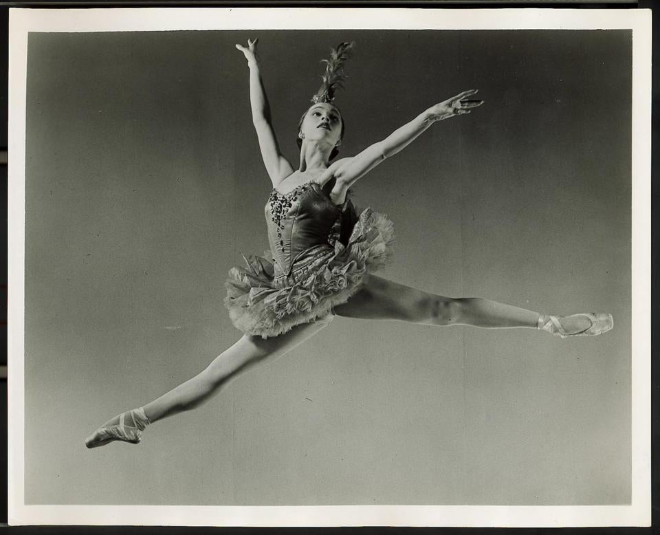 Maria Tallchief danced the title role in a George Balanchine production of 'Firebird.' Below, after a long rehearsal.