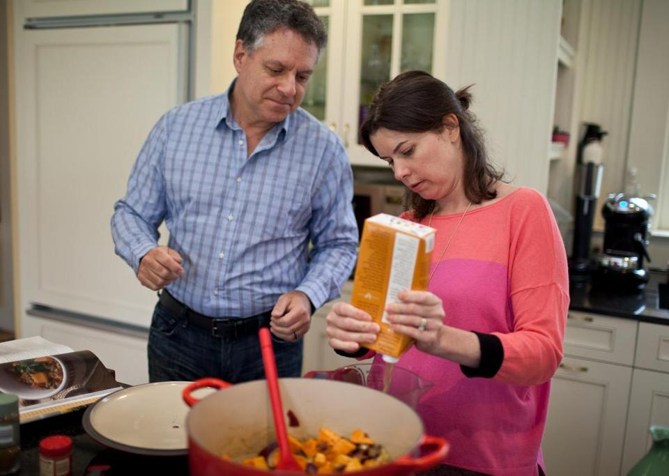 "Dr. Keith Stuart and Dr. Corrine Zarwan prepare two dishes from the cookbook, ""The Lahey Clinic Guide to Cooking Through Cancer: 100+ Recipes for Treatment and Recovery"". Dr. Zarwan and Dr. Stuart, oncologists at the Lahey Hospital and Medical Center, helped put together the cookbook for their patients with cancer."