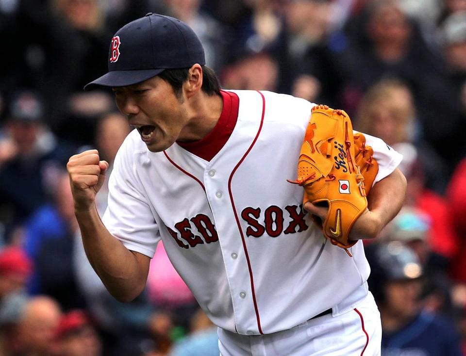 Koji Uehara is pumped after coming in with two on in the ninth and not allowing a run.