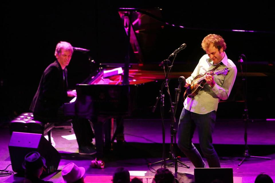 Brad Mehldau (left) and Chris Thile (pictured in New York last week) played a sold-out Berklee Performance Center Sunday night.