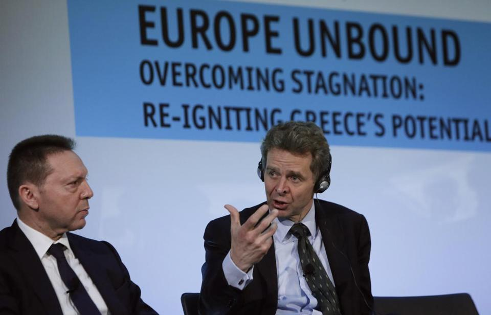 Poul Thomsen (right) of the IMF spoke with Greece's Finance Minister Yannis Stournaras on Monday.