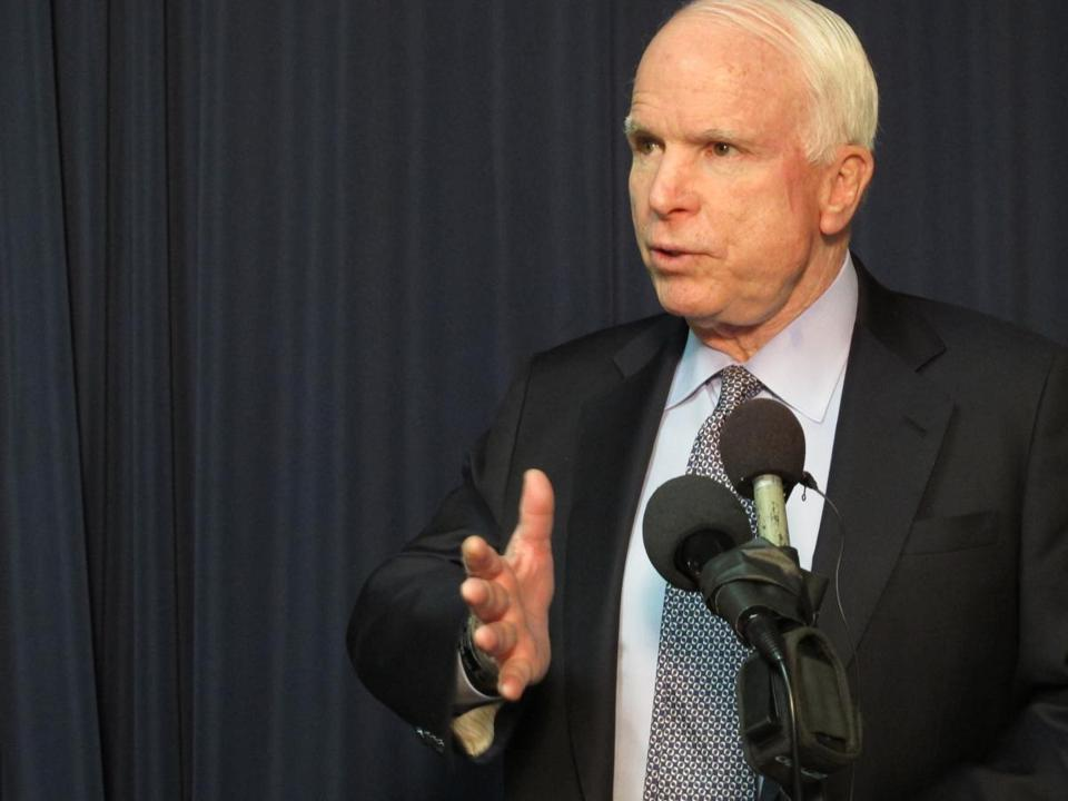 "Senator John McCain said he was ""favorably disposed"" to the Senate proposal, one of only a few Republicans to speak well of the bill so far."