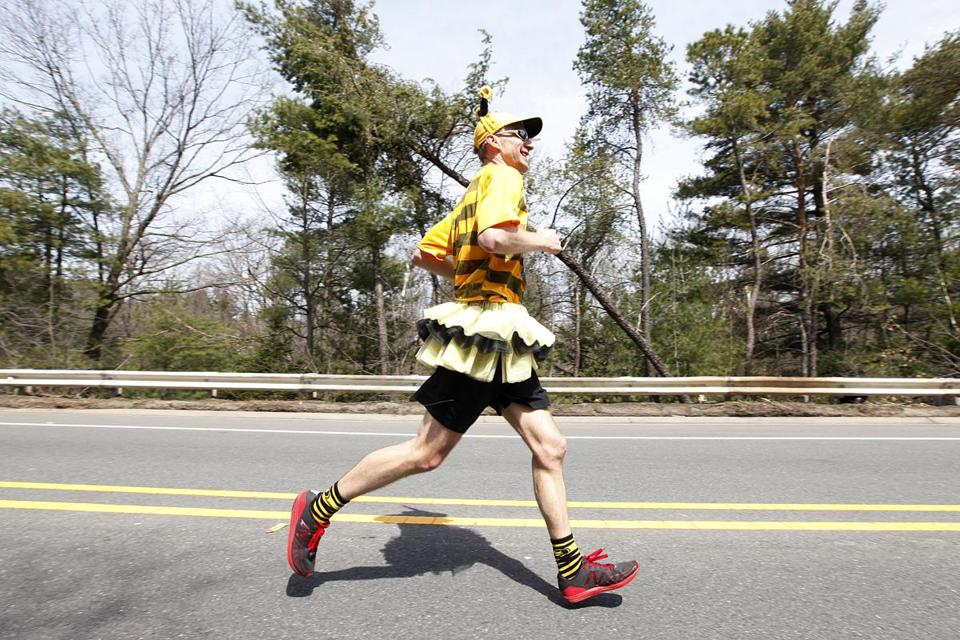 This runner showed off his tutu as he raced past Wellesley College last year.