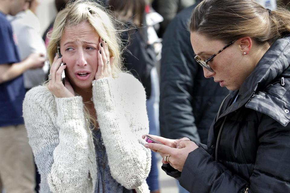 Cellphone service went down in Boston briefly as loved ones tried to locate one another.