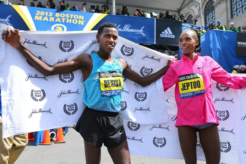 Winners Lelisa Desisa and Rita Jeptoo said their memories of the race are overshadowed by the carnage that came after.